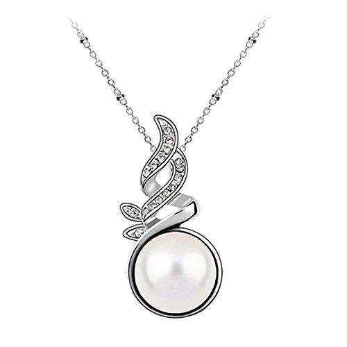 Le Premium® - nuova vita Ciondolo collana di perle MADE WITH SWAROVSKI® ELEMENTS 12 millimetri di cristallo bianco perla