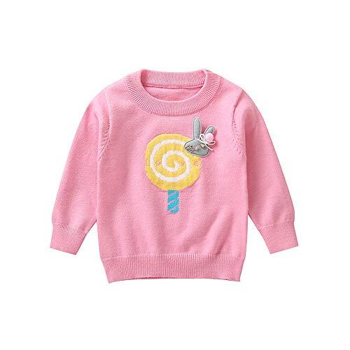 Kinder Strickpullover Mädchen Winter Yanhoo Kindermode Gestrickte Lollipop Häschen Applikation Stricken Pullover Bodenbildung Knopf Shirt Pullover Sweater Top Pulli Sweatshirt
