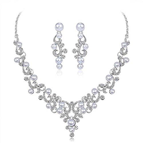 Liquidazione offerte, fittingran liquidazione offerte collana + orecchini gioielli set donna sposa sposa gioielli regali (e)