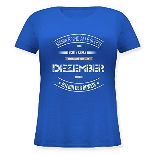 Shirtracer Geburtstag - Echte Kerle Werden IM Dezember Geboren - Lockeres Damen-Shirt in Großen Größen mit Rundhalsausschnitt Blau