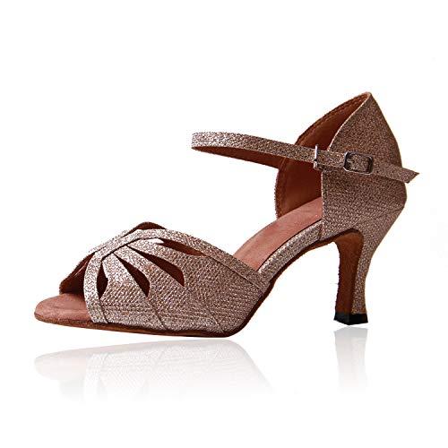 Naudamp donna scarpe da ballo con tacco a punta svasata