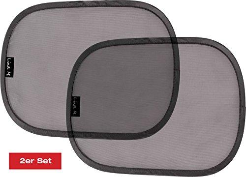 """Lina M.® selbsthaftende Sonnenblende für Kinder und Babys, bietet Sonnenschutz im Auto mit dem höchsten zertifizierten Faktor """"UPF80+"""". Größe: 48 x 30 cm. Zusätzlich mit 4 Saugern. Für Kindersitze, Babyschalen Reboarder und Sitzkeile"""