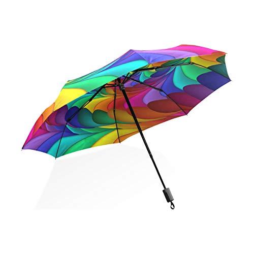 Regenschirm-abstrakte Regenbogen-Spiralen-Blumen-bunte Kunst 3 faltet leichtes Anti-UV