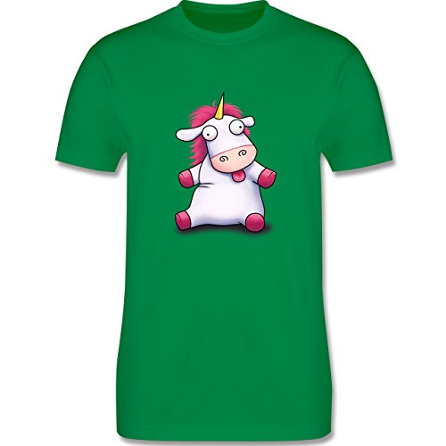 Comic Shirts - Süßes, flauschiges Einhorn - Herren Premium T-Shirt Grün