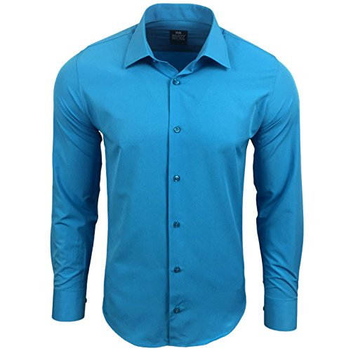 Rusty Neal Herren Einfarbig Hemd Business Hochzeit Slim Fit S bis 6XL 55 Türkis