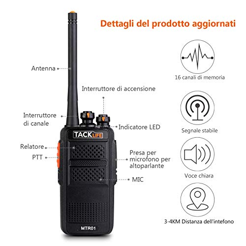 Zoom IMG-1 walkie talkie professionali tacklife mtr01