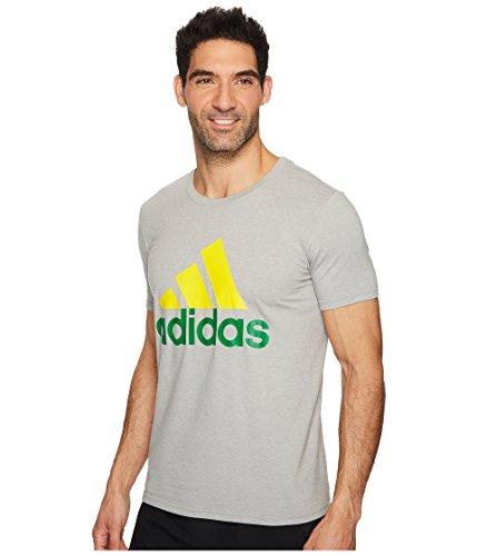 Adidas da uomo distintivo di sport Graphic tee Medium Grey Heather/Yellow/Green
