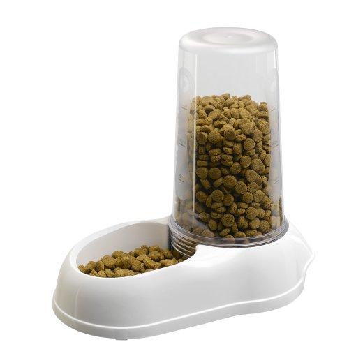 Ferplast Wasser- und Futterspender Azimut 5500 für Katzen und Hunde – Multifunktionaler Spender mit transparentem Nachfülltank – Farbe: Weiß – Größe: 5,5 Liter