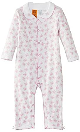 Pumpkin Patch Baby Girls Playhouse Fun Bow All in One Romper, Pink (Rose Bloom), 6-12 Months