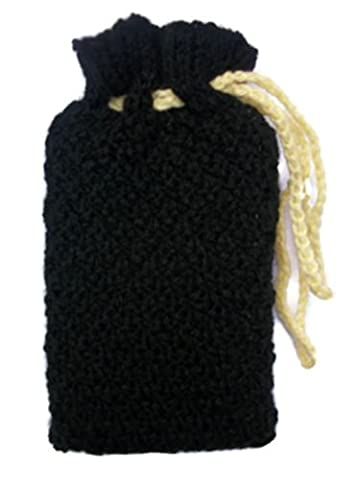Tarot bag, Hand knitted black pouch, Cards, crystals, runes