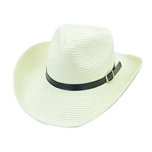 Herren Outdoor Fedora Hut Einstellbar Faltbarer Strohhut Faltbar Jazz Panama Sonnenhut Portabel Trilby Gangster Hut mit Sonnenschutz Breite Krempe (Weiß)