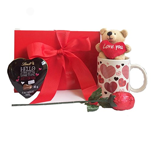 Mother's Day Gift Set with Chocolate Rose, Mug and Teddy Bear and Lindt Heart in Scarlet Box