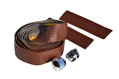 Bike Ribbon. Lenkerband. Handlebar Tape. 2 mt x 2. Echtes Leder/Vero Cuoio. Farbe Braun. Made IN Italy (NST_112_P_A)