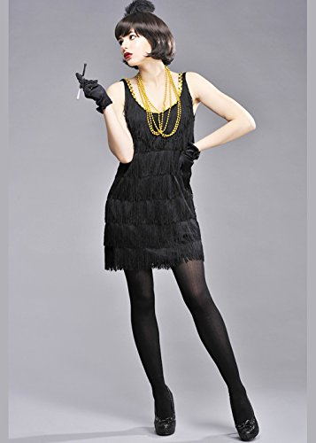 Womens 1920s Black Fransen Chicago Flapper Girl Kostüm Small (UK 8-10)