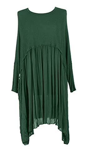 TEXTURE ONLINE Ladies Womens Italian Lagenlook Quirky Batwing Long Sleeve Plain Knit Viscose Swing Flare Flowy Tunic Dress Top Oversized Curve One Size Plus UK 16-22 (One Size Plus, Dark Green)