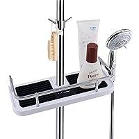 LEEFE Estantes para ducha, Estanterías Desmontable de baño sin Perforar con Dos Ganchos, Organizador del cubículo de ducha - Adecuado para 19mm - 25mm Carril Redondo