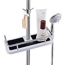 LEF Scaffale Organizer per Mensole, Contenitore per Doccia con Ganci Supporto Staccabile per Shampoo Condizionatore, no Foratura a Parete - Completo per Binario da 19 mm a 25 mm