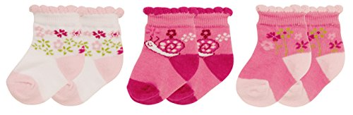 Playshoes Unisex Baby Socken Erstlingssocken Blümchen, 3er Pack, Gr. One size (Herstellergröße: 0-3 Monate), Rosa (original 900)