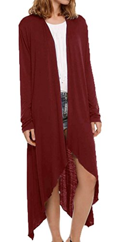 Jusfitsu Damen Lang Strickjacke Asymmetrisches Cardigan Offener V-Ausschnitt Langarmshirt Sweatshirts Wein Rot XXL (Strickjacke Wein)