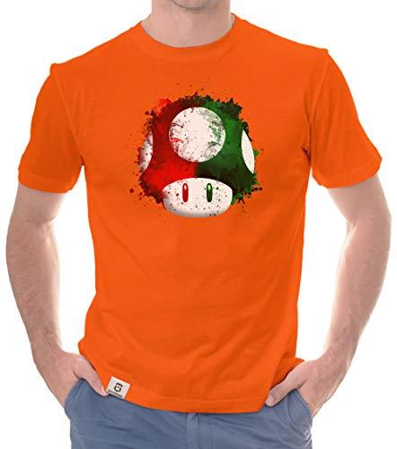 Shirtdepartment - Herren T-Shirt - Super Mario - Pilz orange-rot XXXL