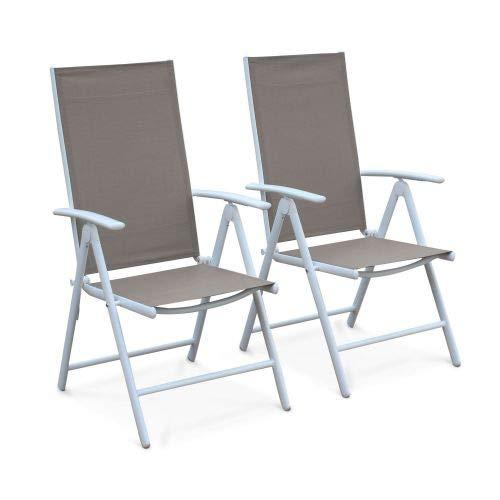 Alice's Garden Lot de 2 fauteuils Multi-Positions Naevia en Aluminium Blanc et textilène Taupe
