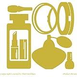 Perfumería, Cosmetics, Perfume, de laca de uñas, espejo, de cara de polvo, diseño con forma de pintalabios (19 x 19 cm) color dorado metálico de baño, infantil, niños juego de pegatinas decorativas, vinilo DE COCHE, Windows y adhesivo decorativo para pared, diseño de pared Windows, adhesivo, diseño de vinilo adhesivo ThatVinylPlace