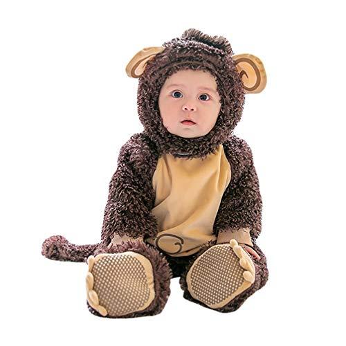JEELINBORE Unisex Baby Tier Halloween Kostüme Plüsch Spielanzug Strampler Tieroutfit Warm Jumpsuit Winter Nachtwäsche (Braun AFFE, 80CM)