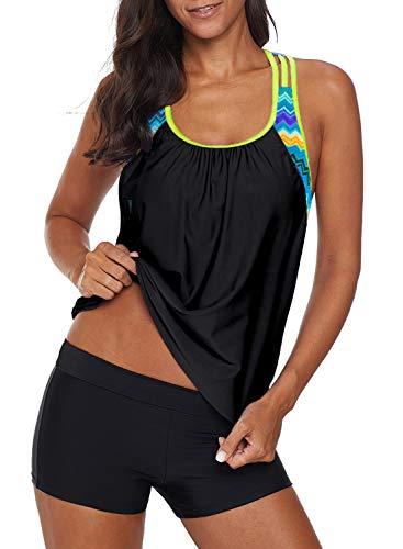 Aleumdr Damen Blouson gestreiftes bedrucktes Träger-T-Back Push Up Tankini Top mit Shorts - - Small -