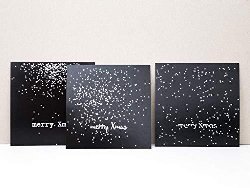 Weihnachtskarten 3 Stück im Set schwarz weiß Typografie - Postkarten für Weihnachten mit Schneeflocken - schlichte minimale Grußkarten