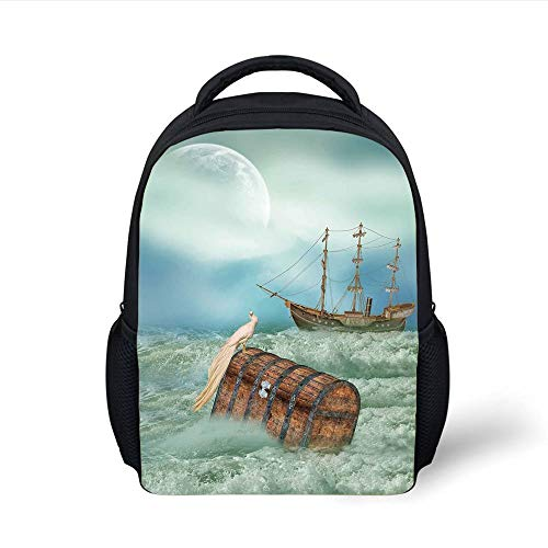Kids School Backpack Fantasy,Antique Old Trunk in Ocean Waves with Magic Bird Pirate Boat Picture,Mint Green Light Caramel Plain Bookbag Travel Daypack - Bird Antique Pictures