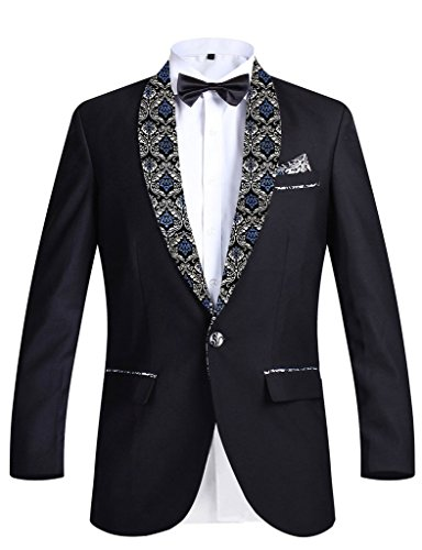 GEORGE BRIDE Herren Anzug Smoking 2-Teilig Anzug Sakko,Tasche Platz Rund Schal Reverse Blaues Muster,4XL,2pcs (Smoking 2 Blau)