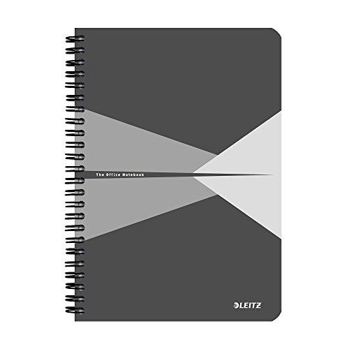 Leitz 44580085 Office Collegeblock A5 kariert, spiralgebunden mit Karton Einband Grau