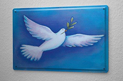 Preisvergleich Produktbild Blechschild Friedenstaube Olivenzweig Metall Deko Schild 20X30 cm