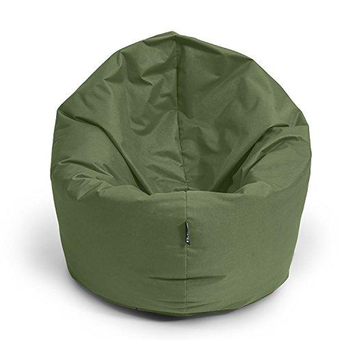 BuBiBag Sitzsack 2-in-1 100cm Durchmesser Funktionen mit Füllung Sitzkissen Bodenkissen Kissen Sessel BeanBag Joga 30 Farben (Khaki)