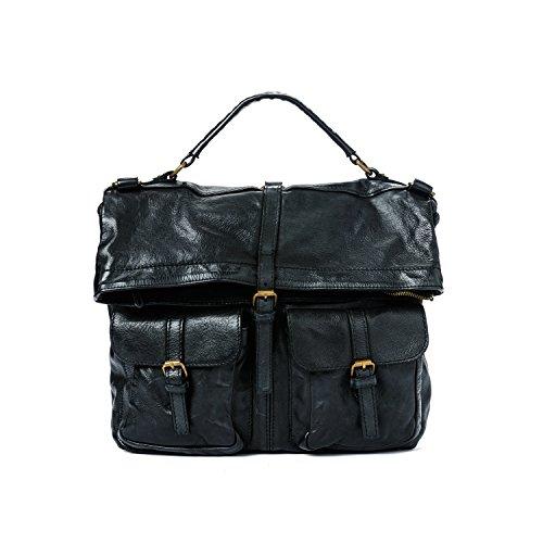 105/5000 Ira del Valle, Handtasche, echtes Leder, Vintage, Umhängetasche, San Antonio Tasche, Made in Italy (Schwarz) (Kroko Furla)