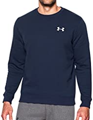 Under Armour Rival Solid Fitted Crew, Felpa Uomo, Blu Navy Notte, Large