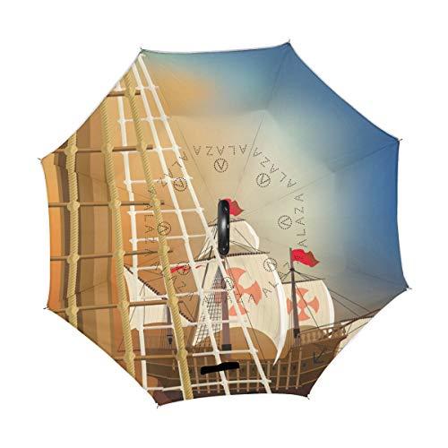 rodde Regenschirm Vintage Columbus Day Reverse Inverted Reversible Sonnenregen für den Außenbereich mit C-förmigem Griff
