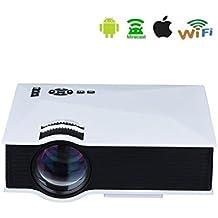 Full HD Proyector de WiFi, HuiHeng UC46 proyector de HD 1200 Lumenes Digital LCD 1080p WiFi Proyector de cine en casa con puerto USB / SD / AV / HDMI / VGA interfaz de Apple Android Airplay / Miracast / DLNA Conexion Inalambrica