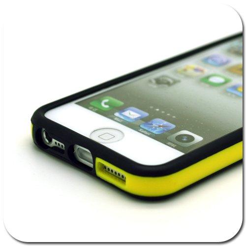 G4GADGET® Coque pour Apple Iphone 4/4S / 5/5S / 5C 5/5SYellow/Black