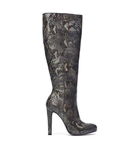 PoiLei Damen Langschaft-Stiefel mit Schlangen-Muster Janine Echt-Leder Stiefel Grau (Stiefel Schlange Echte)