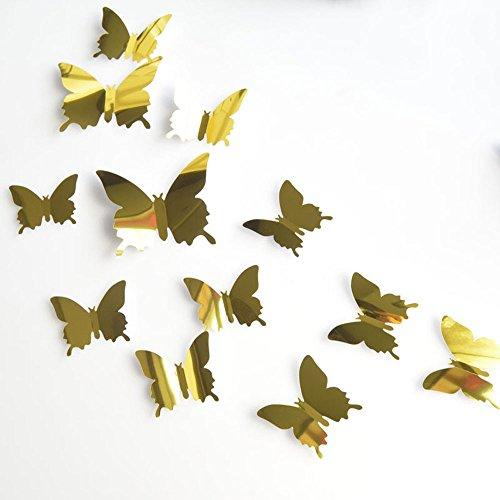 Kelry Wandtatoo 12 STÜCKE 3D Stereo Spiegel Schmetterling Wandaufkleber Wall Sticker (Gold) -