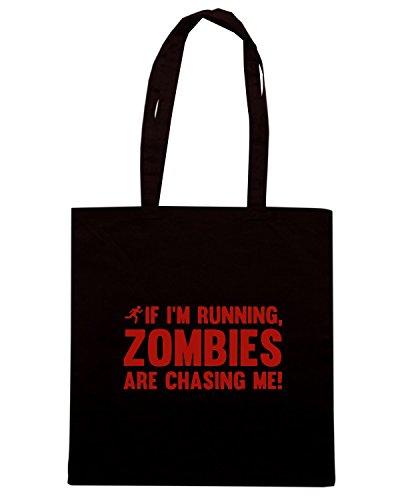 T-Shirtshock - Borsa Shopping TZOM0036 if im running zombies are chasing me white tsh Nero