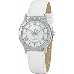 BEVERLY HILLS POLO CLUB LADIES WHITE DIAL WHITE LEATHER STRAP WATCH