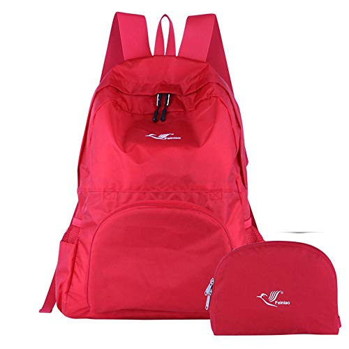 Lhuiqin Faltbarer Rucksack Wasserdichter Outdoor-Rucksack Für Die Freizeitgestaltung, Rot