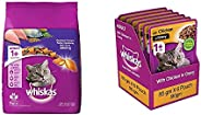 Whiskas Adult (+1 Year) Dry Cat Food, Mackerel Flavour, 3Kg Pack & Adult (+1 Year) Wet Cat Food, Chicken i