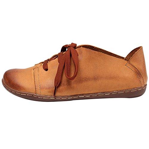 MatchLife Damen Retro Leder Schnürsenkel Flache Schuhe Style1-Braun