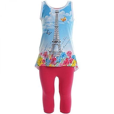 Kinder Mädchen Freizeit Kurzarm Shirt Jogging Hose Outfit 2tl Set Kleidung 20453, (Designer Bauchtanz Kostüme)