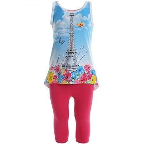 Kinder Mädchen Freizeit Kurzarm Shirt Jogging Hose Outfit 2tl Set Kleidung 20453, Farbe:Pink;Größe:104