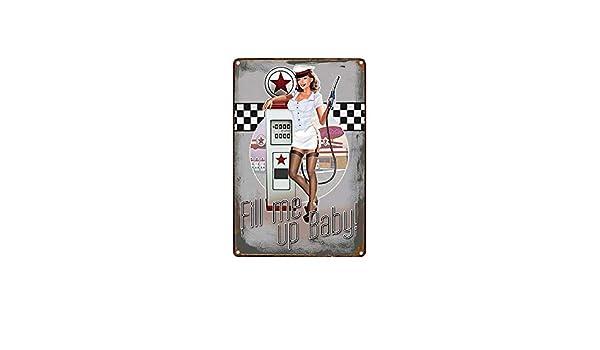 Lorenzo Pin-up Girl Vintage m/étal Feuille d/étain Mur de Fer Peinture Plaque Affiche Panneau davertissement Salon caf/é Bar bi/ère Club f/ête d/écoration