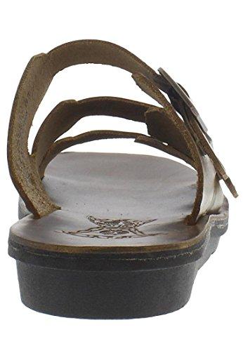 FLY LONDON MEDE912FLY - Sandalo da Donna Modello MEDE912FLY A Tre Fasce Regolabili Camel/Beige